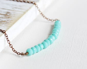 Light Aqua Blue Bead Bar Necklace on Antiqued Copper Plated Chain, Czech Glass Jewelry