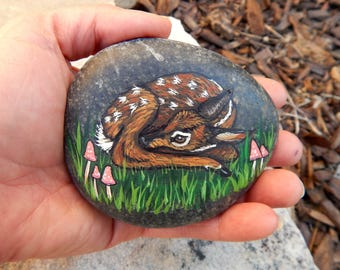 FAWN Hand Painted Rocks BABY DEER Rock Art Forest Creatures Spirit Guides Lotus and Nightshade Woodland Animal Totem Stone Altar Tools