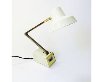 Vintage Adjustable White Task Light / Desk Lamp / Tensor
