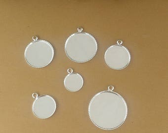 100 Brass Silver Plated 12mm/ 14mm/ 16mm/ 18mm/ 20mm Round Bezel W/ Closed Ring Jagged Frame Pendant Trays Cabochon Mountings- Z8122