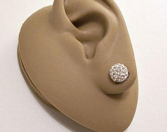 Sterling Silver Marked 925 Crystal Globe 6mm Bead Pierced Post Stud Earrings Vintage Clear Round Faceted Stones