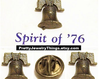 Liberty Bell Lapel Tac Pin Brooch Bronze Spirity of '76 Vintage Detailed Insription Lined Texture