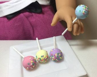 Miniature Dollhouse 4 Cake pops with sprinkles for American Girls AG 18 inch doll food 1:3 scale