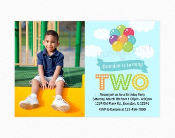Balloon Birthday Party Invitation, Balloon Bouquet, Boy, Red, Blue, Green, Photo Invitation, Printable or Printed