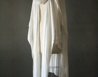 Vintage 70's Moroccan White Gauze Fringed Poncho With Hooded Attached Scarf Wrap by Tienda Ho