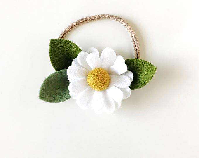 Featured listing image: Single Flower Headband or Alligator Clip // Chamomile, Fall Felt Flower