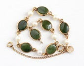 Sale - Vintage 12k Rosy Yellow Gold Filled & Cultured Pearl Jade Bracelet - Retro 1950s Green Nephrite Jade Gem CC Curtis Creations Jewelry