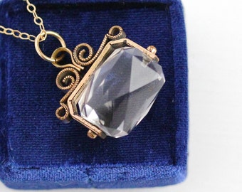 Antique Spinner Fob - Victorian Rock Crystal Quartz Gem Pendant Necklace - 1890s Unique Faceted Clear Gemstone Gold Filled Charm Jewelry