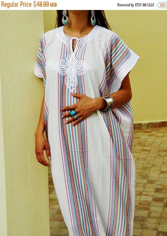 Autumn Dress 20% OFF/ Resort Caftan Kaftan - White-for Ramadan, Eid wear, abayas, as beachwear, beach cover ups,resortwear, Kaftan, maternit