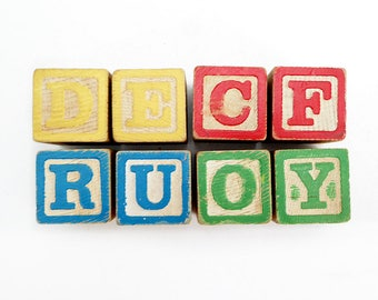 Eight Colorful Wooden Blocks, Letters and Numbers