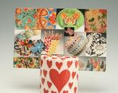 Business Card Holder for Desk, Heart Ceramic Photo, Card, Postcard Holder, Red Hearts Business Card Holder