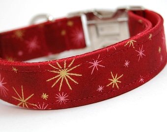 Handmade Dog Collar - Holiday Sparkle in Red - Winder Dog Collar - Gold Accents - Deep Red Dog Collar with gold Snowflakes