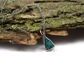 Raw Dioptase Necklace in Sterling Silver - Geometric Crystal Cage Necklace - Raw Stone Necklace - Dioptase Jewelry - Dioptase Crystal A