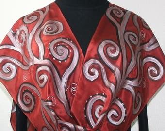 Silk Scarf Hand Painted. Copper Silver Handmade Silk Shawl COPPER WATERFALL, 11x60. Silk Scarves Colorado. Birthday Gift.