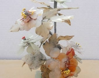Chinese Hand Carved Jade and Alabaster Floral Arrangement, Carved Stone Floral Arrangement, Carved Stone Bansai Tree