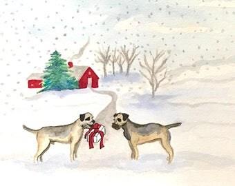 Border terrier card, terrier gift, Border terrier art, greeting card dog lovers, giclee with envelope, a merrier terrier time