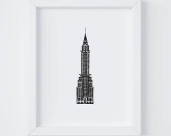 8x10 Chrysler Building Print | New York City | NYC | Line Drawing