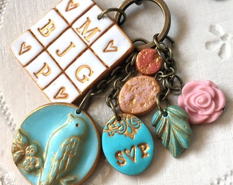 Custom Family Keychain, Personalized Keychain for Mama, Bird and Letters Keyring, Bag accessory