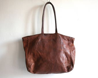 Rustic Leather Tote Bag