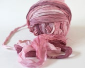 "Recycled Chiffon Sari Ribbon ,by the yard, ""True Rose"" hand dyed  jewelry making, doll clothing, spinning supplies"