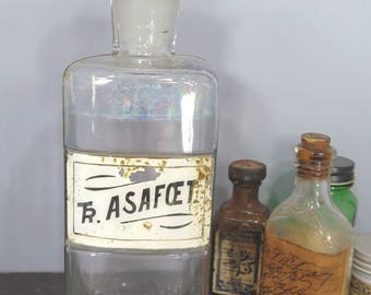 Antique Apothecary Chemical Bottle Tr. ASAFOET Victorian Paper Label Glass Stopper