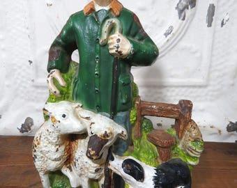 Shepherd Man Doorstop, Sheep, Dog, Cast Iron, Hard to Find