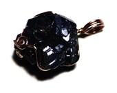 Raw Cuprite Pendant (41 ct) Cuprite in 14k Rose Gold Wire, Cuprite Necklace, Red Gold Wire, Copper Ore Gemstone, Raw Metallic Crystal Gift