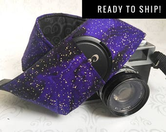 READY TO SHIP - Camera Strap, Padded, Lens Cap Pocket, Nikon, Canon, dslr Photography, Photographer Gift - Purple Galaxy & Black Scroll