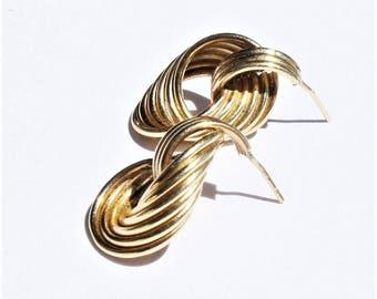 Estate 14k Yellow Gold Intricate Multi Tube Knot Twist Pierced Drop Earrings