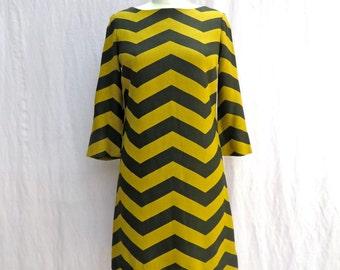 Vintage 1960's/Mod Yellow and Back Striped Twiggy Dress/Sabeth of California/Mod Striped Dress/60's Mod Twiggy Dress