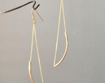 Handmade gold filled chain and tube long dangle earrings