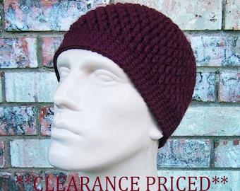 CLEARANCE PRICED 60% OFF - Maroon Beanie - Mens Hat Size Medium - Hand Crocheted - Soft Acrylic Yarn - Warm Winter - Ready to Ship