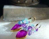 RESERVED for Carol Hot Pink Crystal Druzy with Cluster of Colorful Gemstones on Gold Filled Leverbacks