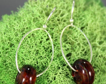 Warm Amber Glass & Sterling Silver Earrings - Contemporary - Lampwork - One of a Kind