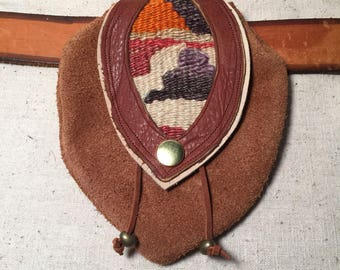 Vintage Woven wool leather belt pouch