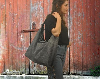 Handmade stonewashed canvas-leather shoulder bag,everyday bag,named PENELOPE