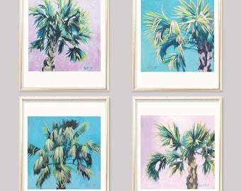 Tropical Tree Wall Art Set, 4 Palm Fern Prints, Set Of 4 Palm Tree prints, Tree Print Bundle, Tropical Fern Prints Set Of Four