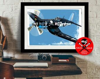 "AIRPLANE - SALE! 18""X24"" - F4U Corsair - Airplane Decor, Art Print, WWII vintage airplane, Air Force, Military Gift, Aviation, Pilot gift"