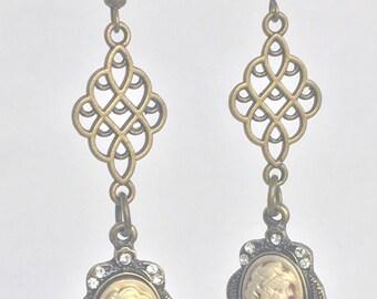 Brass cameo dangle earrings