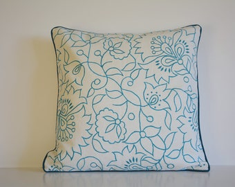Turquoise Blue Embroidery on 100% Cotton Canvas Pillow Cover , Turq Embroidered Cushion Cover , Teal Floral Embroidered Cotton Pillow Cover