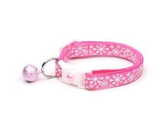 Snowflake Cat Collar - Whimsical Snowflakes on Pink - Breakaway Cat Collar  - Kitten or Large Size