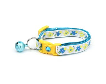 Fish Cat Collar - Tropical Flowers and Fish - Kitten or Large Size - Nautical