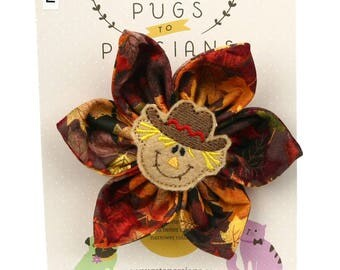 Thanksgiving Dog Bow - Happy Scarecrow on Autumn Leaves - Flower - Collar Blossom - Large Size