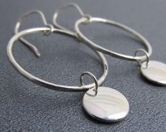 Argentium Sterling Silver Dangle Earrings / Modern Earrings / Minimalist Dangle Earrings / Minimal Jewelry / Silver Earrings / Silver Disc
