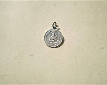 St. Gerard - Vintage French Medal or Pendant - Round - Metal - Notre Dame du Perpetuel Secours - Catholic - Holy Charm