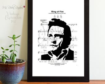 Johnny Cash, Ring of Fire,  Music Sheet, Digital Download, Art Print