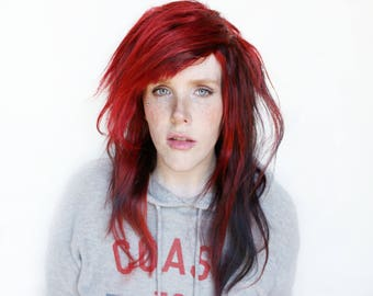 SALE Red wig | Human Hair wig, Indian Remy Human Hair Glueless Full Lace wig | Long Scene Emo Red Black wig | Venom
