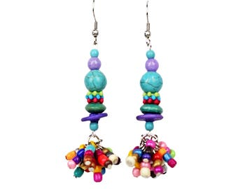 Dangle Bead Earrings Colorful Bohemian Look With Howlite, Glass and Wood Beads with Hypo Allergenic Ear Wires