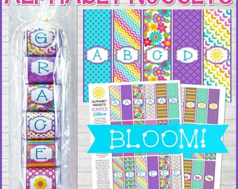 ALPHABET Nugget Wrappers, Bloom Edition, Spell Out NAMES and WORDS, Party Favor, Gift Tag, Summer Printable - Printable Instant Download