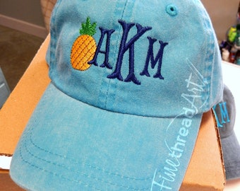 KIDS Pineapple Monogram Baseball Cap Hat LEATHER strap Girl Pigment Dyed Nautical Beach Summer Hawaii Cruise Mom and Me Hats